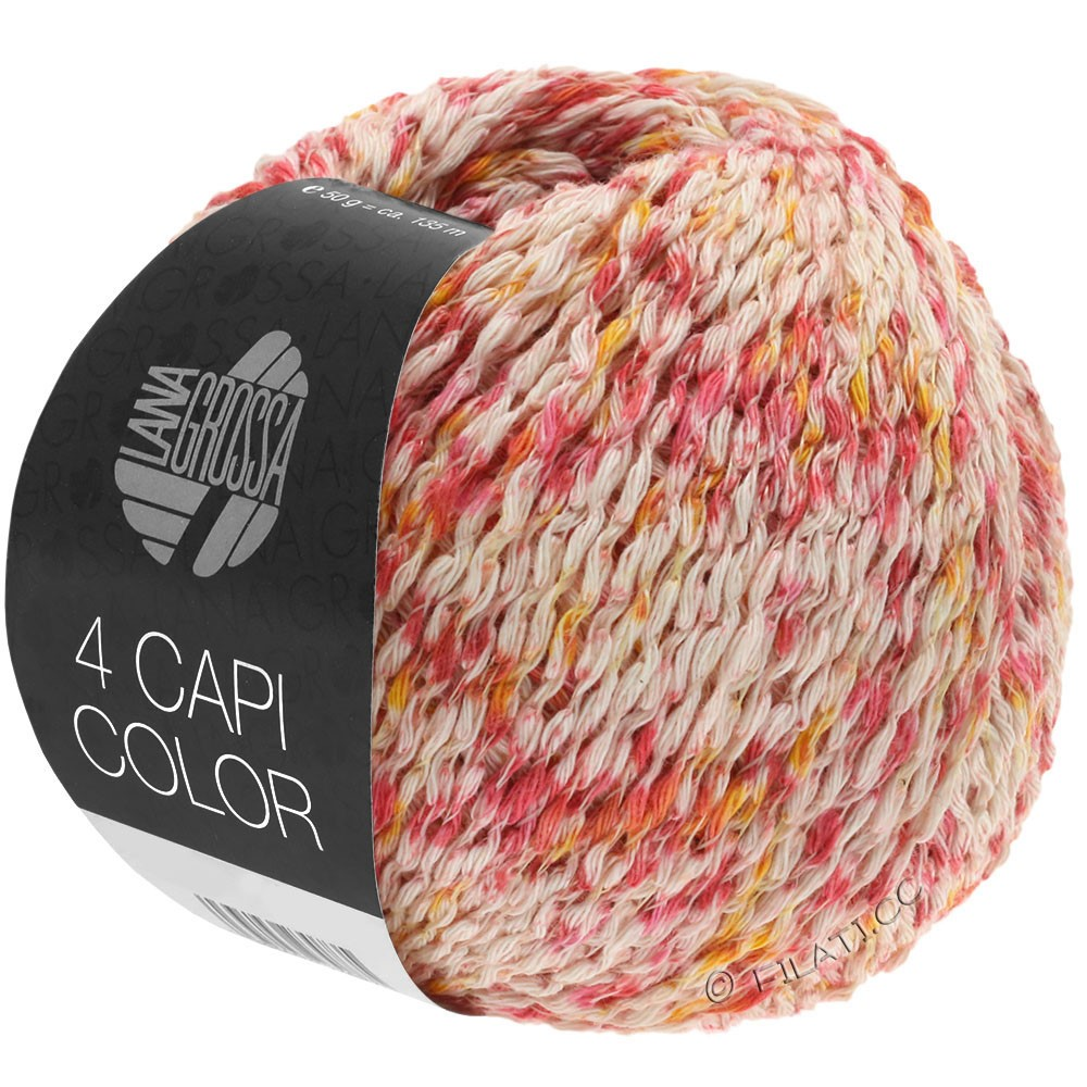 Lana Grossa 4 CAPI Color | 105-natura/rosso/giallo sole/rosa vivo