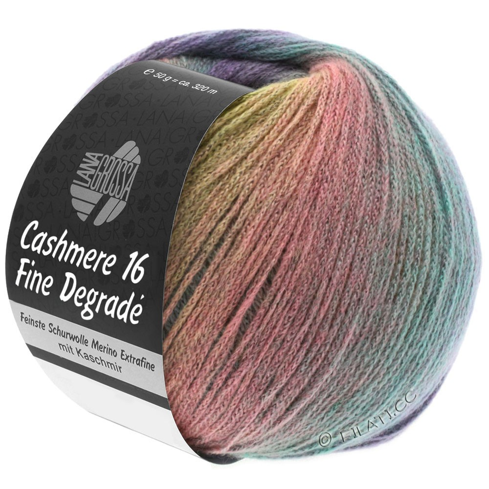 Lana Grossa CASHMERE 16 FINE Uni/Degradé | 101-giallo delicata/grigio chiaro/rosa/menta/porpora