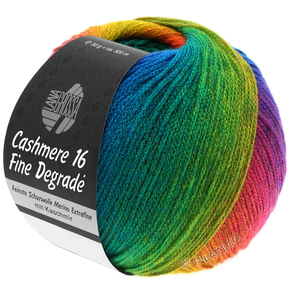 Lana Grossa CASHMERE 16 FINE Uni/Degradé | 104-giallo senape/ruggine/blu genziana/blu turchese/smeraldo/viola rosso/verde giallo