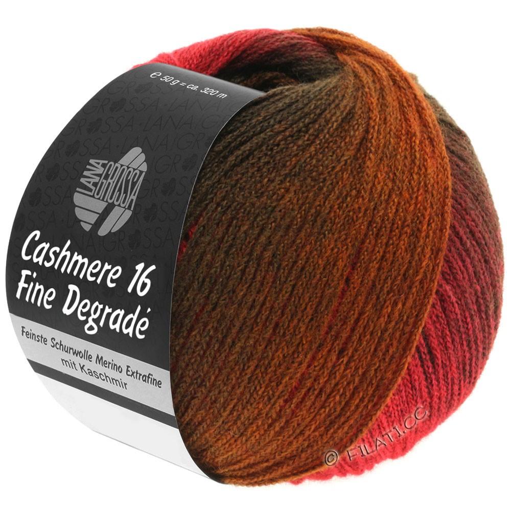 Lana Grossa CASHMERE 16 FINE Uni/Degradé | 105-rosso scuro/rosso chiaro/marrone cioccolato/marrone noce/caramello
