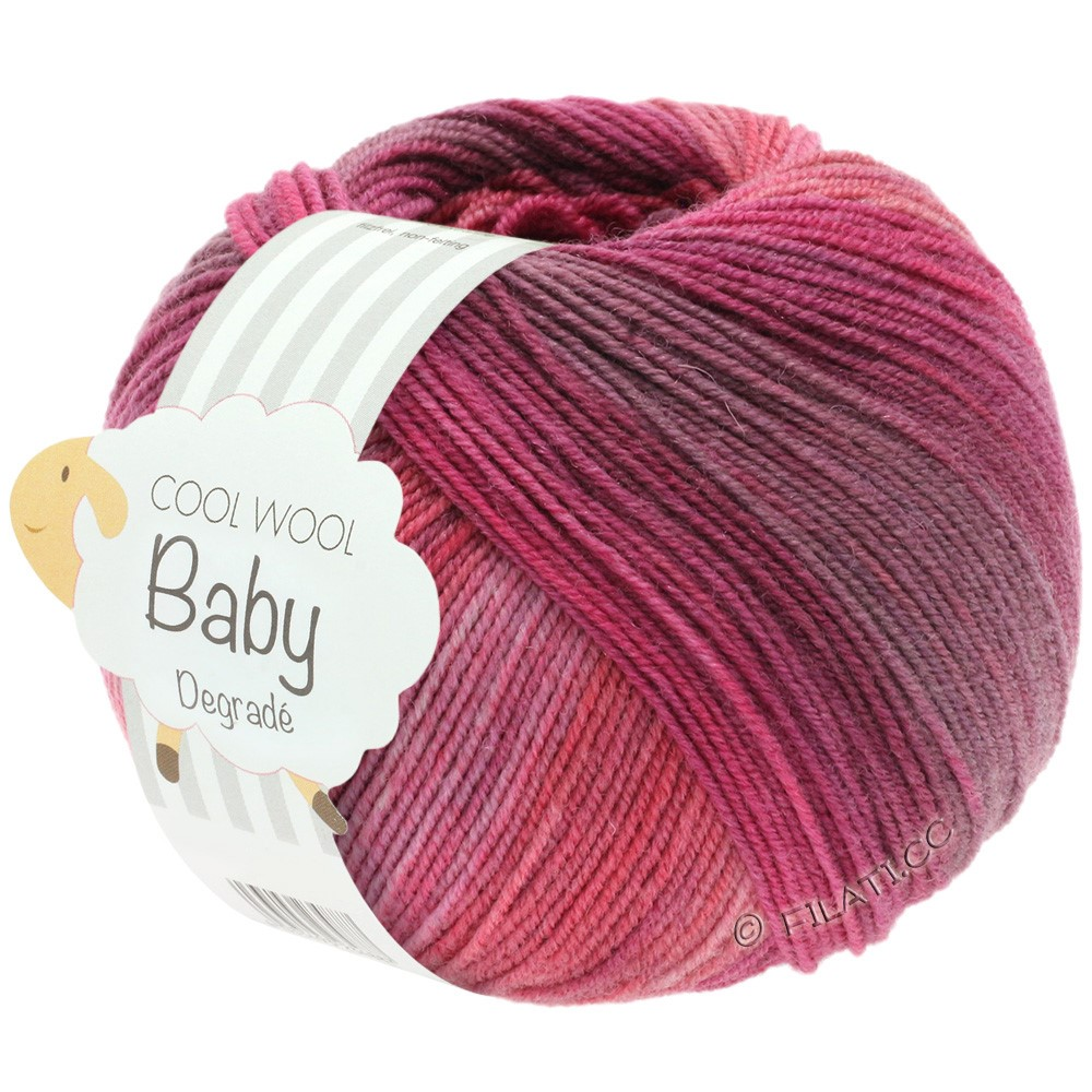 Lana Grossa COOL WOOL Baby Degradé | 507-bacca/viola antico/lampone