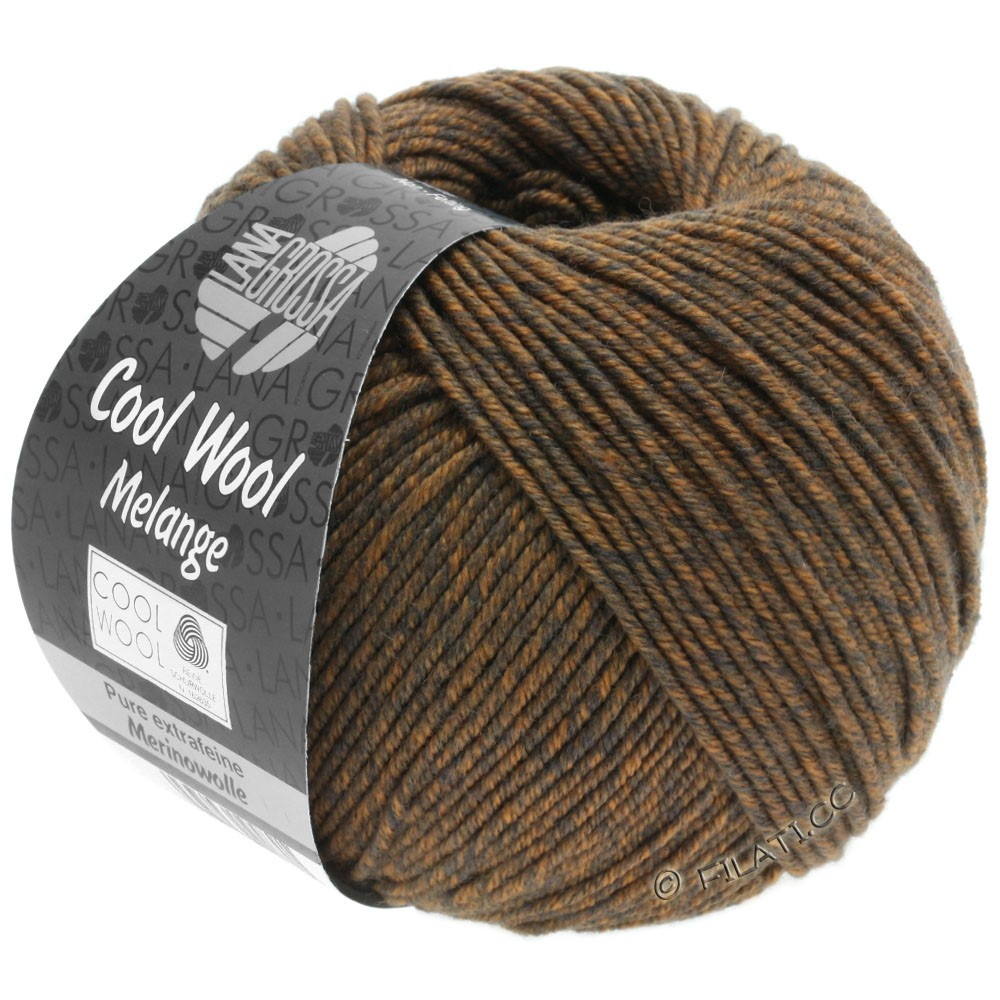 Lana Grossa COOL WOOL   Uni/Melange/Neon | 0138-grigio marrone/arancio puntinato