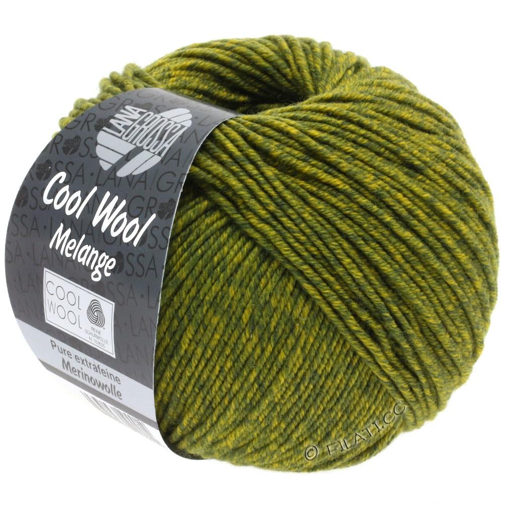 Lana Grossa COOL WOOL   Uni/Melange/Neon | 0140-oliva scuro/giallo oliva puntinato