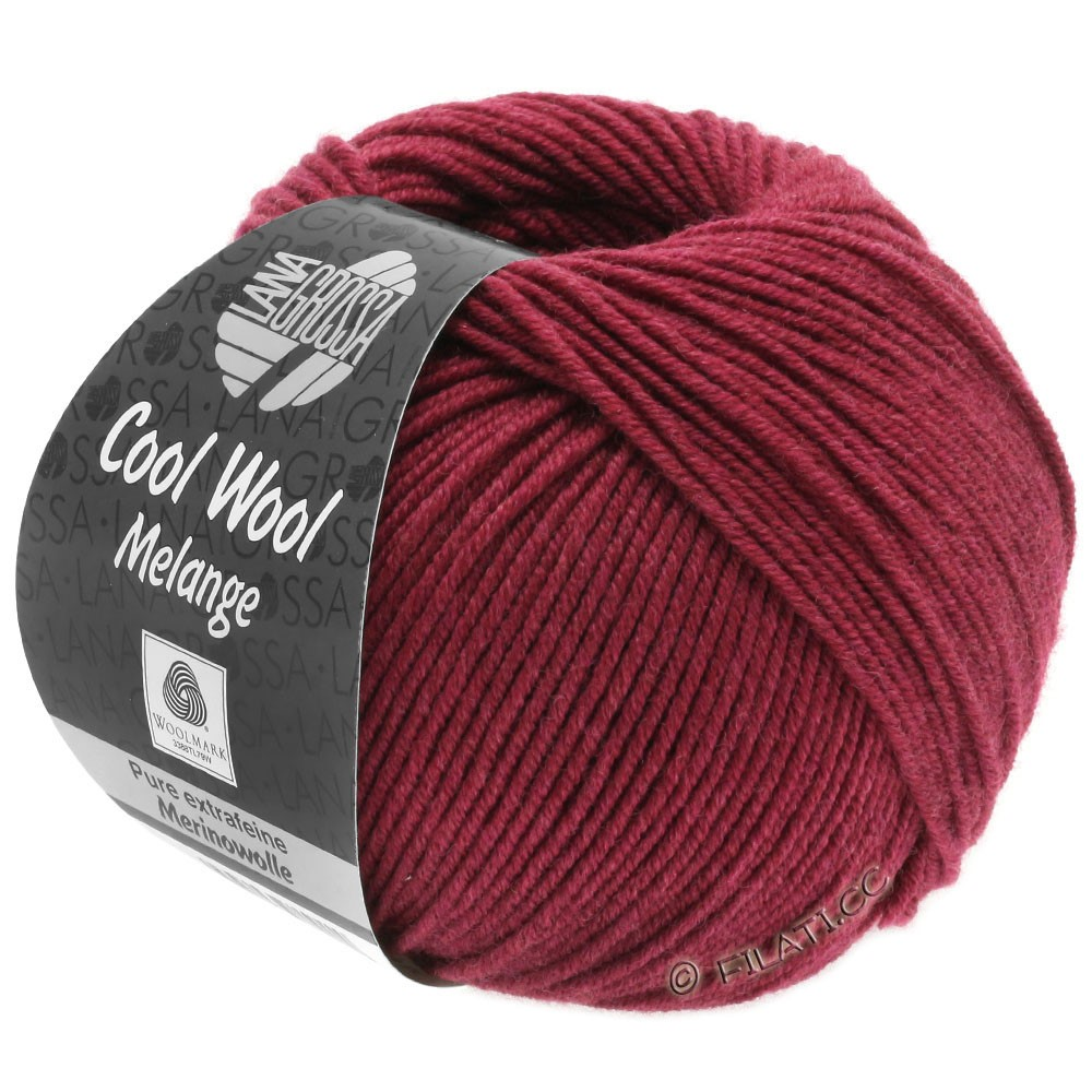 Lana Grossa COOL WOOL   Uni/Melange/Neon | 0142-rosso vino puntinato