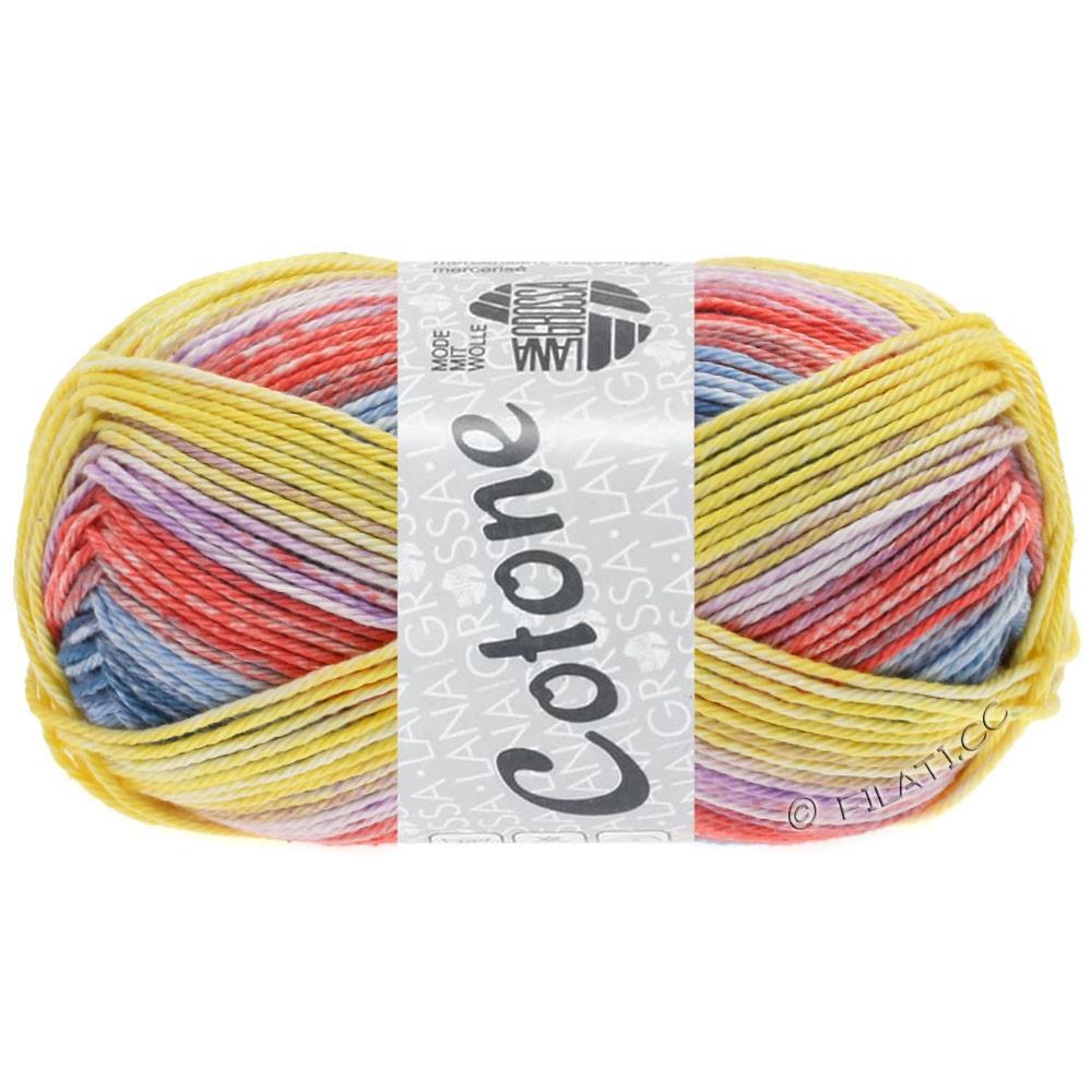 Lana Grossa COTONE  Print/Denim | 256-giallo/jeans/lilla/rosso chiaro/blu chiaro