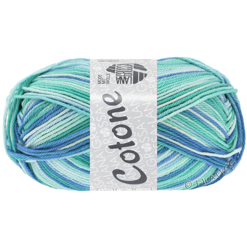 Lana Grossa COTONE  Print/Denim | 312-blu ghiaccio/turchese chiaro/blu