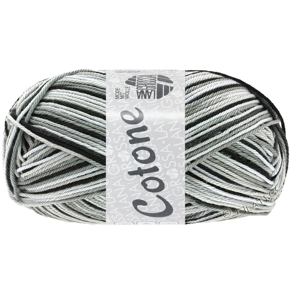 Lana Grossa COTONE  Print/Denim | 317-bianco/grigio argento/grigio scuro/nero