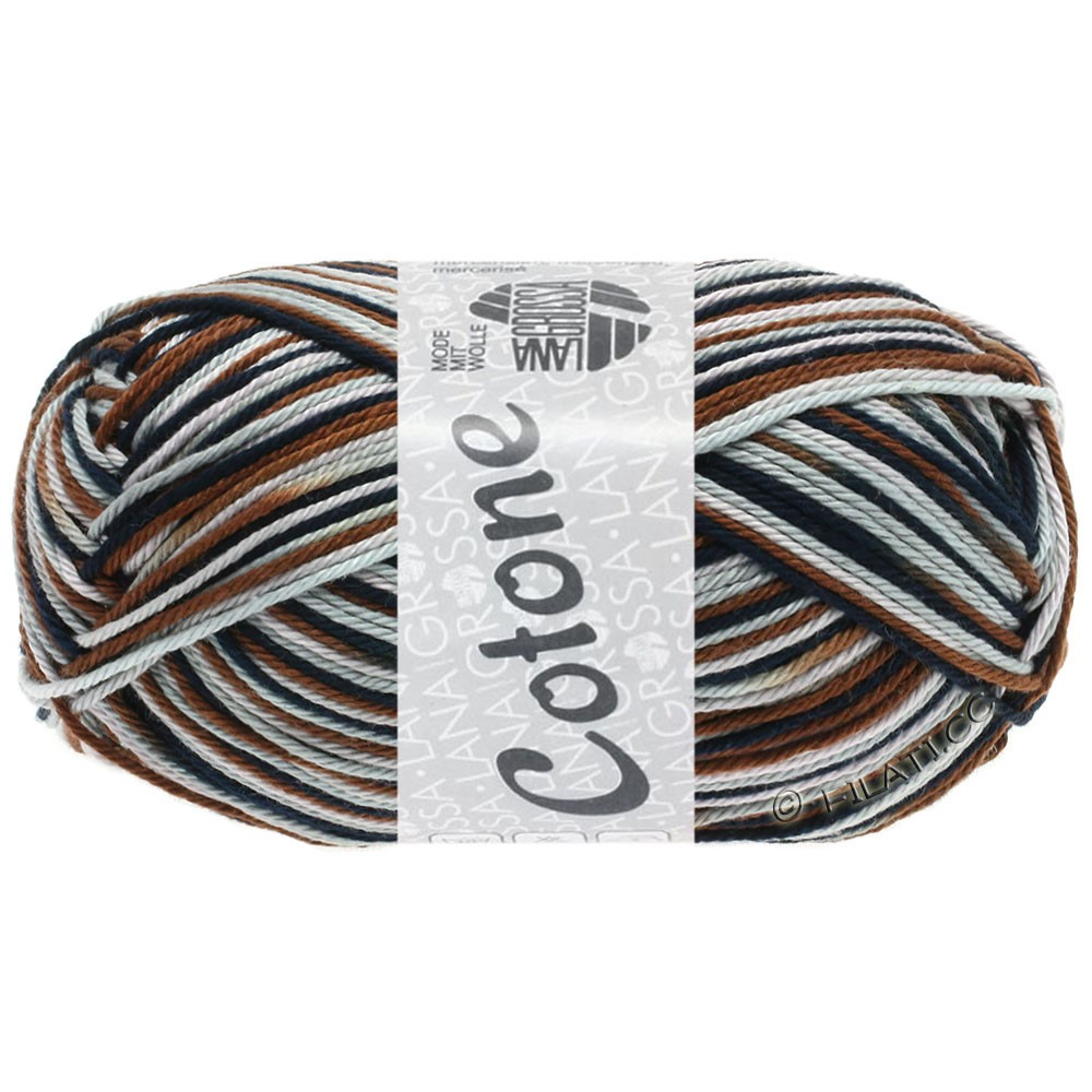 Lana Grossa COTONE  Print/Denim | 329-rosa grigio/grigio chiaro/marrone cioccolato/nero