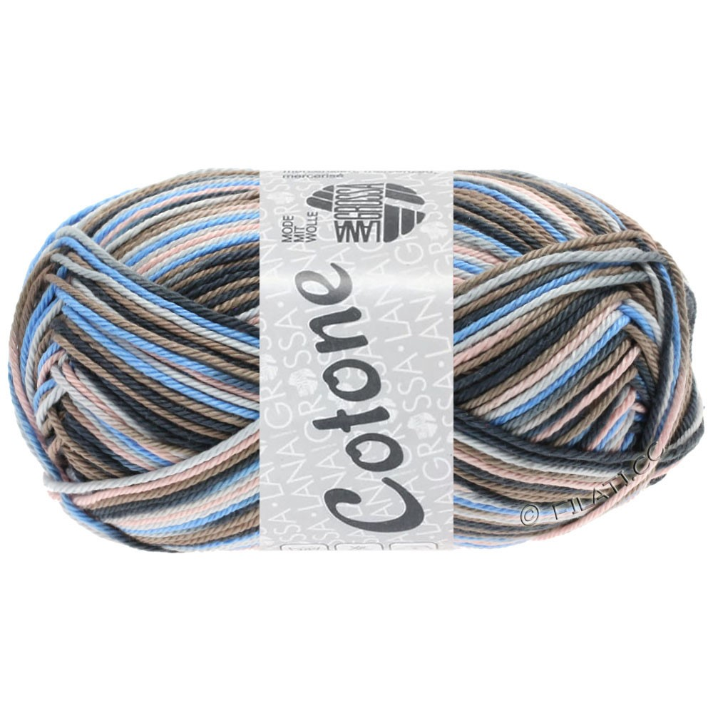 Lana Grossa COTONE  Print/Denim | 332-grigio chiaro/taupe/blu chiaro/antracite