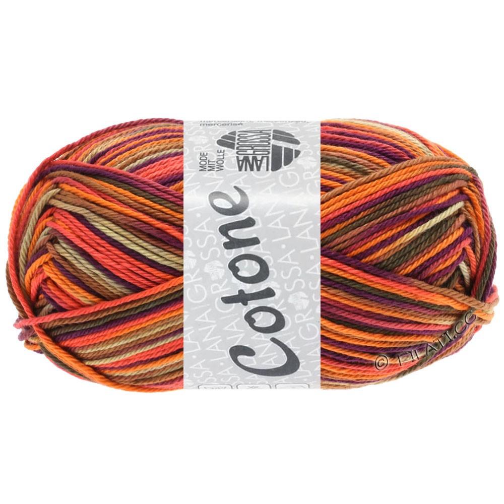 Lana Grossa COTONE  Print/Denim | 334-arancio/beige/terracotta/viola scuro/marrone/marrone scuro