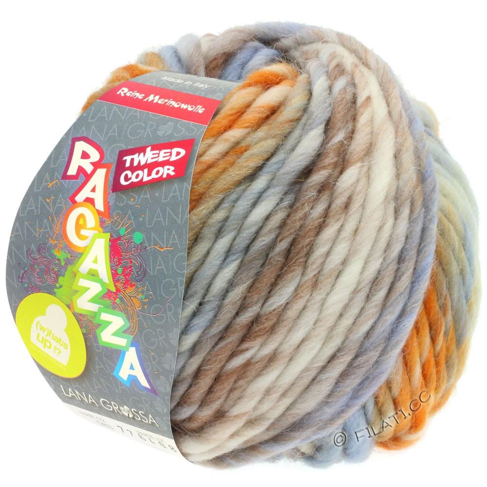 Lana Grossa LEI Tweed Color (Ragazza) | 404-natura/blu chiaro/marrone/arancio puntinato