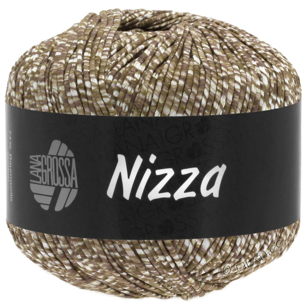 Lana Grossa NIZZA | 10-bianco/grigio marrone/oro
