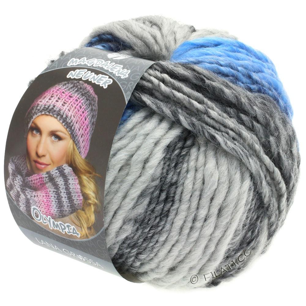 Lana Grossa OLYMPIA Grey | 802-grigio scuro/grigio chiaro/jeans/fiordaliso