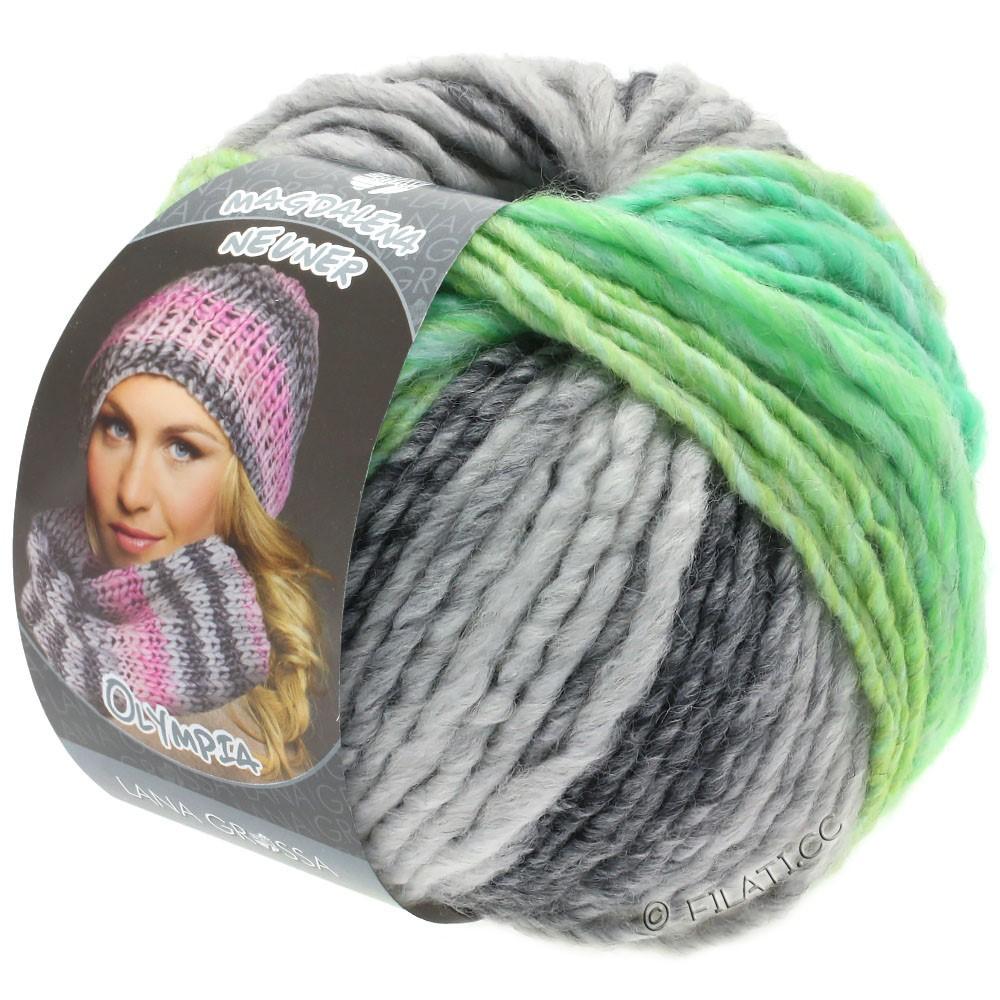 Lana Grossa OLYMPIA Grey | 803-grigio scuro/grigio chiaro/verde giallo/verde giada