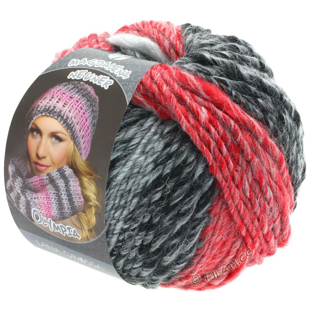 Lana Grossa OLYMPIA Grey | 807-antracite/grigio scuro/grigio chiaro/rosso/rosso scuro