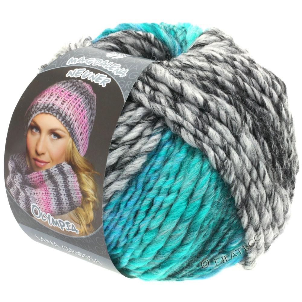 Lana Grossa OLYMPIA Grey | 808-antracite/grigio scuro/grigio chiaro/verde turchese/blu turchese