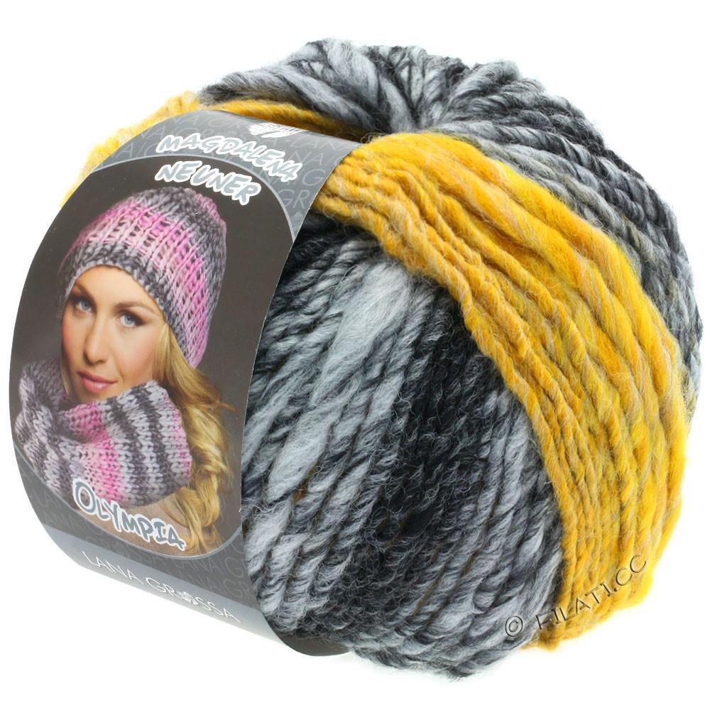 Lana Grossa OLYMPIA Grey | 810-antracite/grigio scuro/grigio chiaro/giallo puntinato
