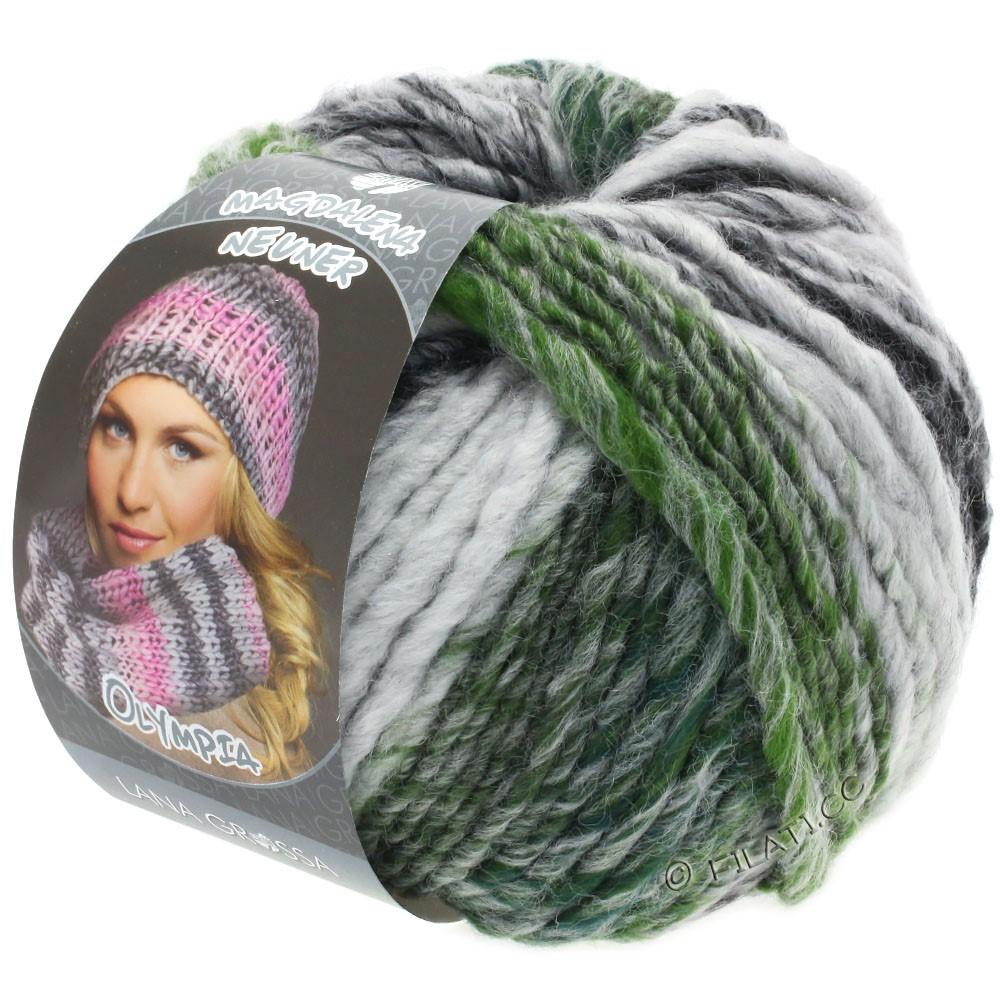 Lana Grossa OLYMPIA Grey | 811-antracite/grigio scuro/grigio chiaro/verde muschio puntinato