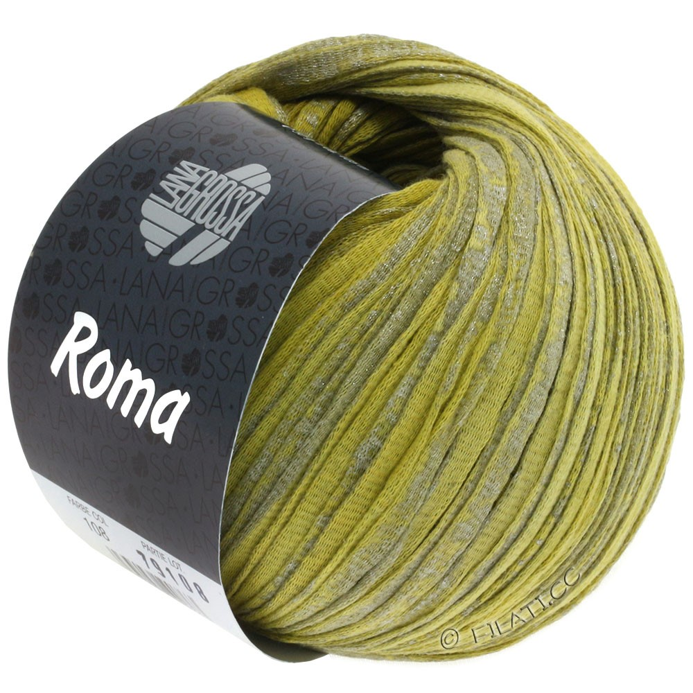 Lana Grossa ROMA   108-limette/giallo senape/argento