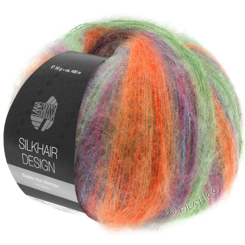 Lana Grossa SILKHAIR Design | 1005-verde/arancio/ottanio/ciclamino/mora